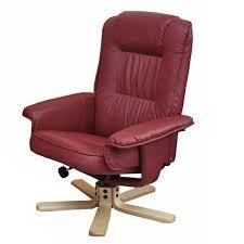 siege relax fauteuil relax en simili cuir bordeaux pied en bois siège pivotant