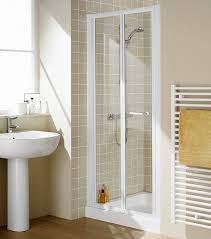 700mm semi frameless bi fold shower door white