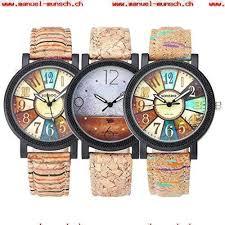 design uhren damen jsdde uhren damen retro stil farbig streifen armbanduhr holz kork