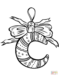 crescent moon christmas ornament coloring page free printable