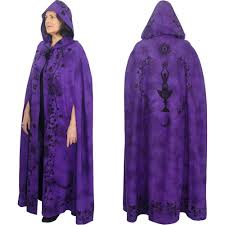 celtic ritual robes purple black moon goddess cotton hooded cloak cape or ritual