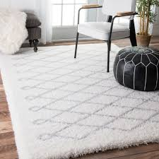 Black And White Rug Overstock Nuloom Soft And Plush Cloudy Shag Diamond White Rug 5 U00273 X 7 U00276