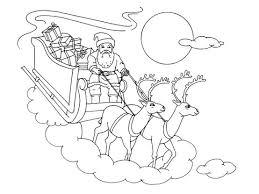 Coloriage Noël  le traîneau et les rennes  Coloriage Noel