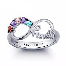 family ring personalized engraved birthstone family ring luxxjewel