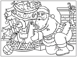 coloring page of christmas tree with presents print santa put gift under the christmas tree coloring page or