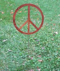 peace sign garden stake garden yard by rusticaornamentals
