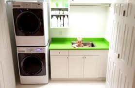 Laundry Room Detergent Storage Astonishing Laundry Room Design With Corner Stacked Laundry