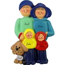family of 4 with a dog personalized christmas ornament calliope