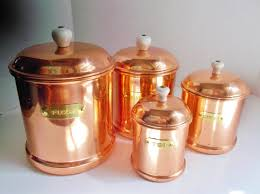 copper canister set kitchen vintage copper canister set flour sugar coffee tea by nannasthings