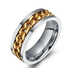 mens spinner rings 8mm mens ring the rock accessories stainless steel gold chain