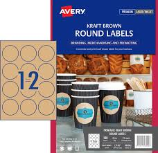kraft round labels 980002 avery australia