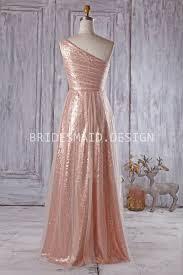 tulle over rose gold sequin one shoulder long modern bridesmaid