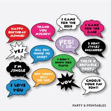 photo booth party props instant 20 pieces editable speech photo booth