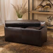 leather storage ottomans
