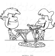 vector of a cartoon couple of kids sharing pizza outlined