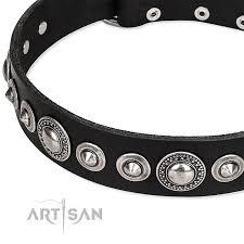 Comfortable Dog Collar Strict Elegance Fdt Artisan Black Leather Bulldog Collar With