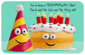 mr cake and mr party hat greeting card happy birthday