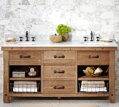 Benchwright Reclaimed Wood Double Sink Console Wax Pine Finish - Bathroom vanities double sink wood