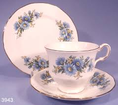 queen anne blue flowers vintage bone china tea cup saucer and tea