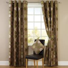 Green And Brown Curtains Jacquard Lined Eyelet Curtains Green