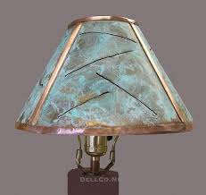 copper lamp shade with green patina