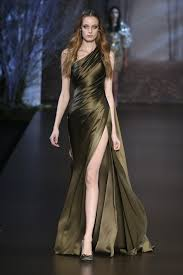 Draped Gown Khaki Silk Double Satin Asymmetric Draped Gown Ralph And Russo