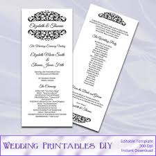 tea length wedding programs tea length wedding program template diy black white ceremony