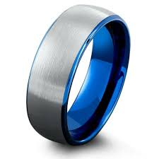 blue titanium wedding band mens blue brushed tungsten wedding band northernroyal