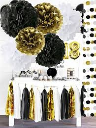 black and gold centerpieces black gold white party decorationstissue paper pom pom
