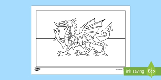 flag colouring page flag colouring welsh st david