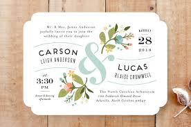 floral ampersand wedding invitations by wick minted