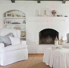 painting brick fireplace for a contemporary kitchen with a brick
