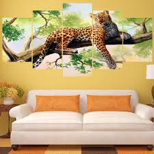 Wildlife Home Decor by 5pcs Hd Unframed Canvas Modern Wall Art Oil Painting Picture Print