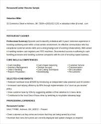 Sample Of Resume For Cashier by Sample Cashier Resume Best Restaurant Cashier Resume Example