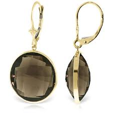 smoky quartz drop earrings 34 0ctw in 9ct gold 5240y qp jewellers