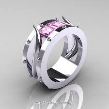 epic wedding band harald hardrada mens 14k white gold light pink sapphire channel