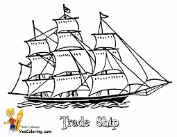 sailing boat coloring page for kids transportation pages
