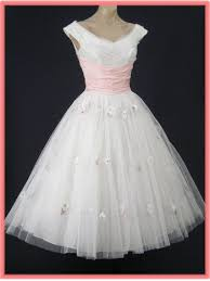 50s white tulle tea length wedding dress vintage wedding dresses