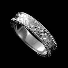 white gold vintage wedding bands white gold vintage s engraved flat wedding band orospot