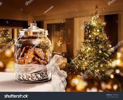 gingerbread cookies jar christmas tree room stock photo 157909523