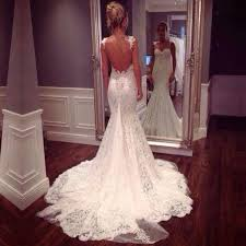 lace mermaid wedding dress spaghetti straps lace sweep mermaid wedding dress