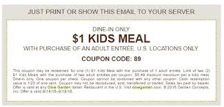 Printable Olive Garden Coupons Kids Eat For 1 At The Olive Garden Through September 18th