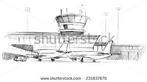 handdrawing airplanes airport artistic pencil style stock