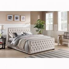 double size upholstered beige linen fabric bed frame royal