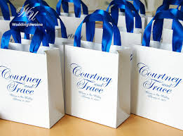 personalized wedding welcome bags 25 wedding welcome bags with royal blue satin ribbon and names