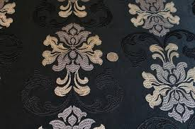 Black And Gold Curtain Fabric Mid Weight Polyester Black Gold Regency Embroidered Curtain Fabric