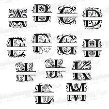 monogram letters regal split monogram letters svg regal split monogram letters