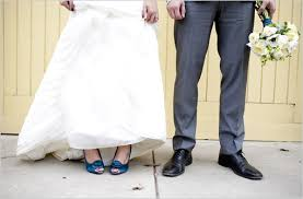 wedding dress shoes show me pictures of your blue shoes with your wedding dress