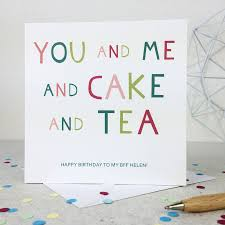 you and me and cake and tea u0027 funny birthday card by wink design