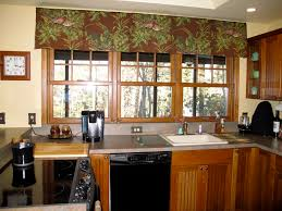 window treatment ideas kitchen vintage green floral patterned kitchen window valance combined